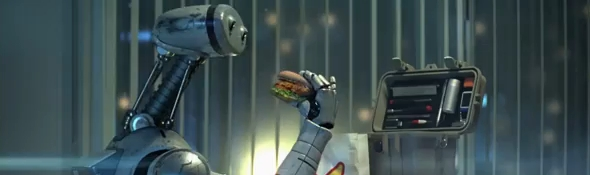 Publicité Carl's Jr - Des hamburgers faits main pas par des robots #1