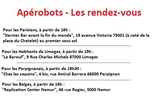 Apérobo 39 - Rencontre Robotique Mensuelle - Affiche Liste des Aperobots #1